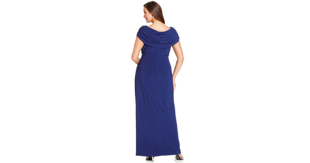55657093 Xscape Plus Size Embellished Portrait-Collar Gown in Blue - Lyst