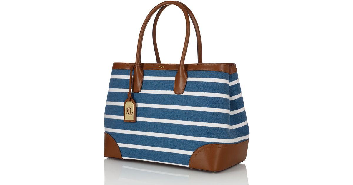 ... bennington handbag light blue 431 693831 014 01 preview 2c8f3 d0658   cheap lyst lauren by ralph lauren city striped canvas tote bag in blue  bac68 29978 aac7620596309