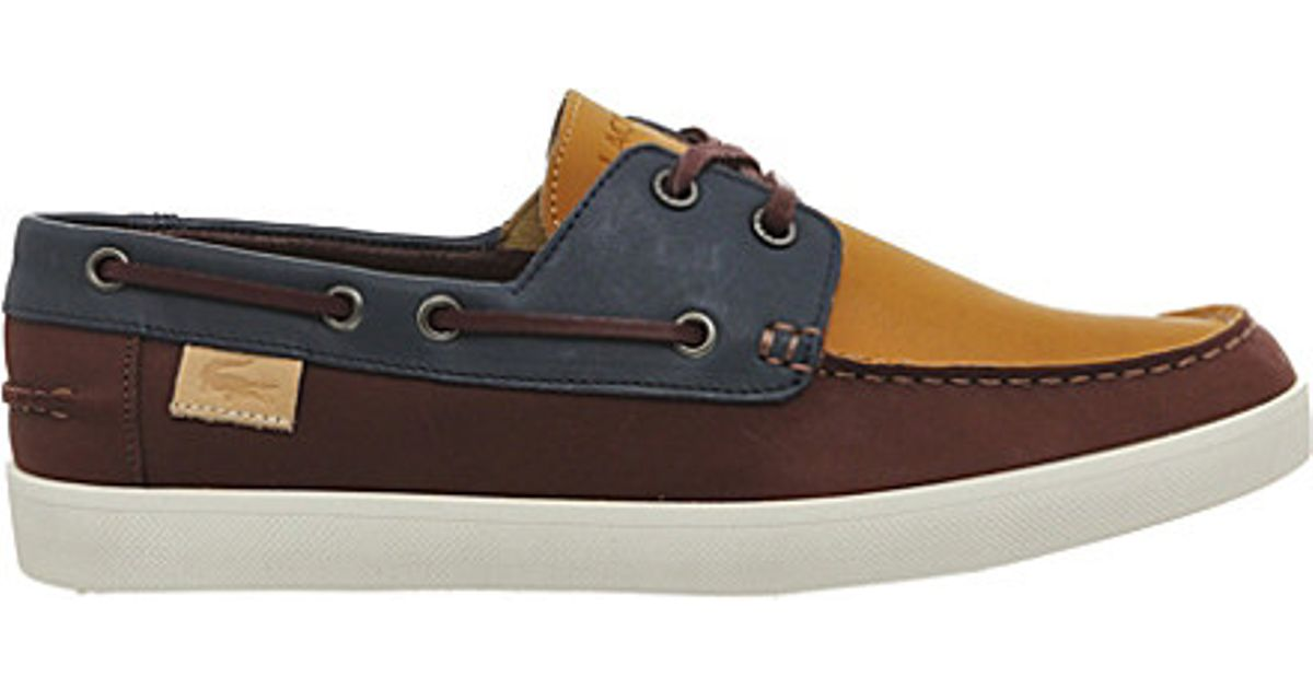 f4cabf8998dfa4 Lacoste Keellson Leather Boat Shoes in Brown for Men - Lyst