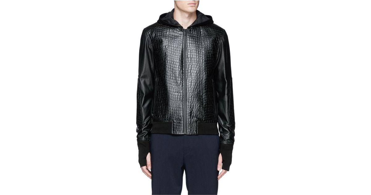 alexander mcqueen croc embossed leather zip hoodie in black for men lyst. Black Bedroom Furniture Sets. Home Design Ideas