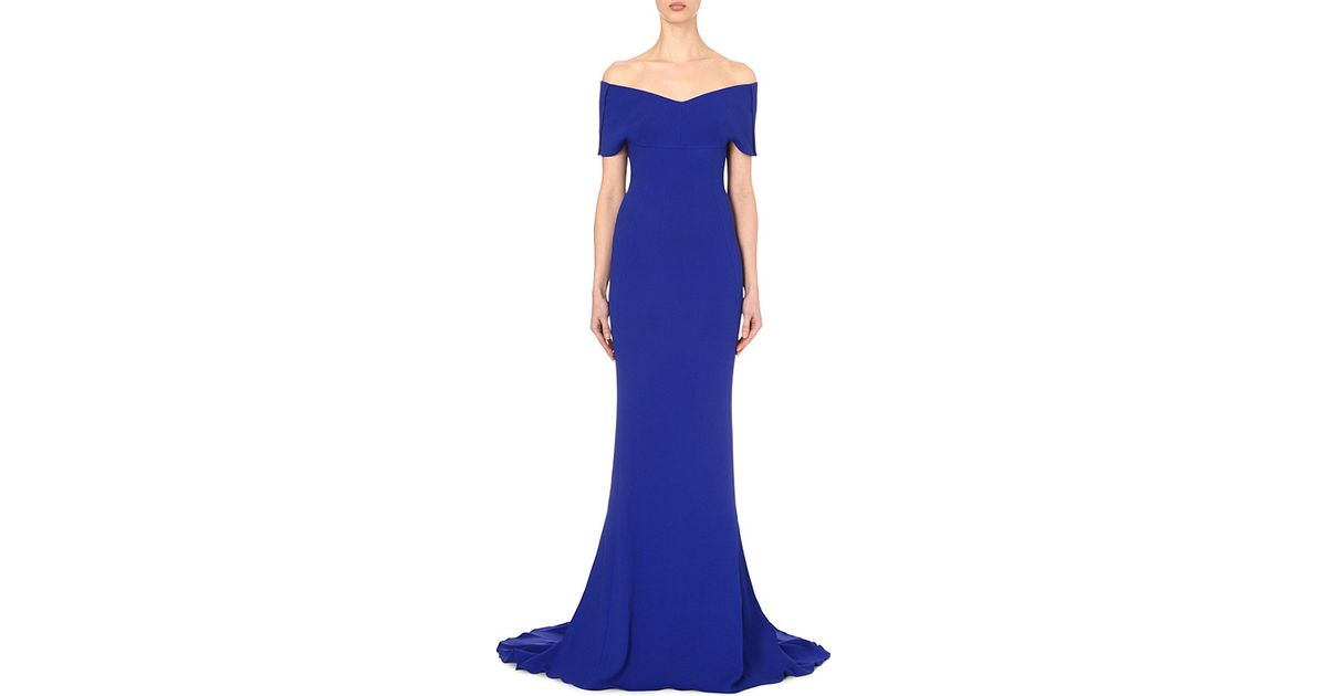 25ca2bbb9702 Stella McCartney Off-the-shoulder Stretch-crepe Gown in Blue - Lyst