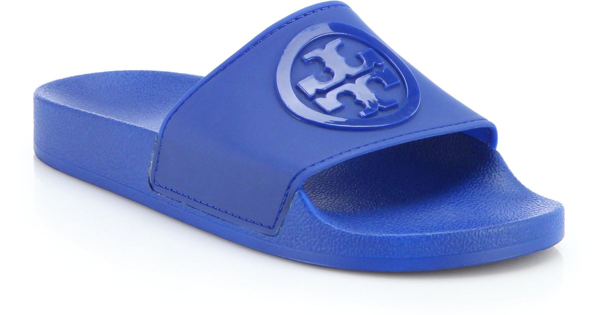 868bf7cc2fbcf6 Lyst - Tory Burch Jelly Anatomic Flat Slides in Blue
