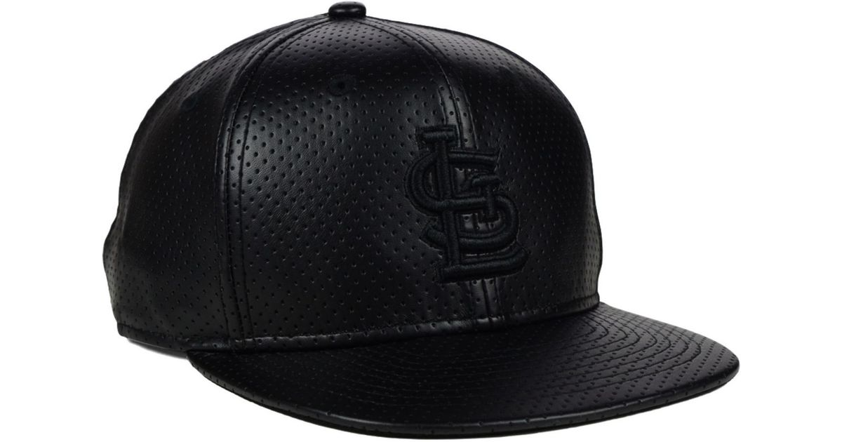 40873a80e00a5 Lyst - KTZ Colorado Rockies Black On Black Faux Leather Perforated 9fifty  Snapback Cap in Black for Men