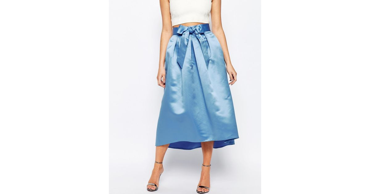 closet bow front midi skirt in sateen in blue powderblue