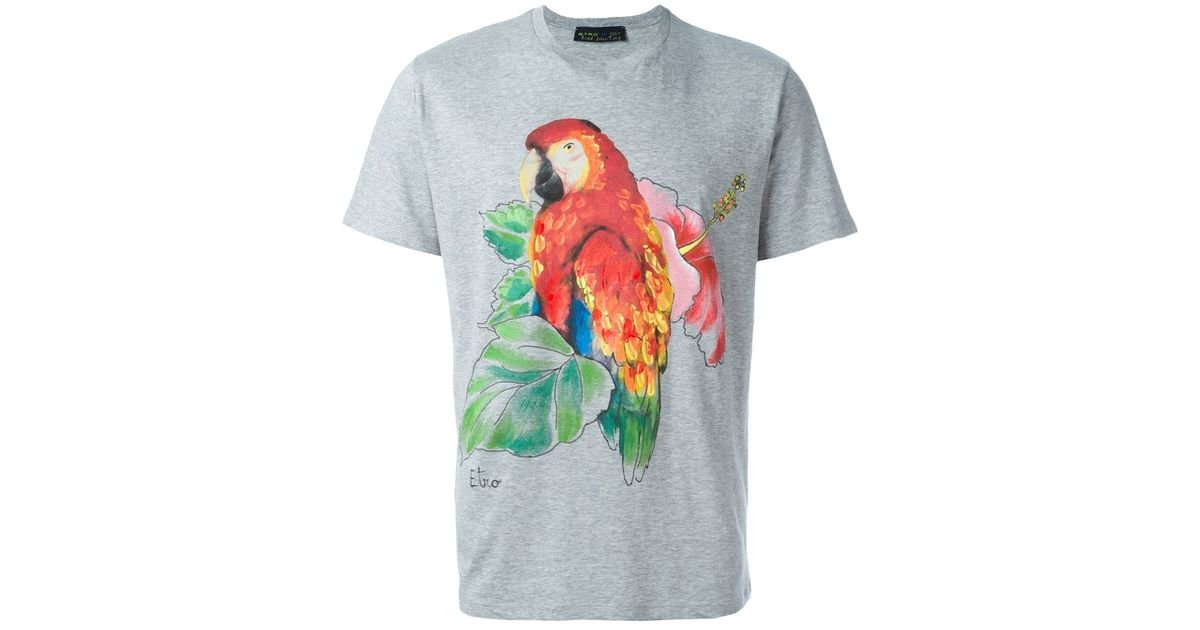 351593cff8ab Lyst - Etro Parrot Print T-shirt in Gray for Men