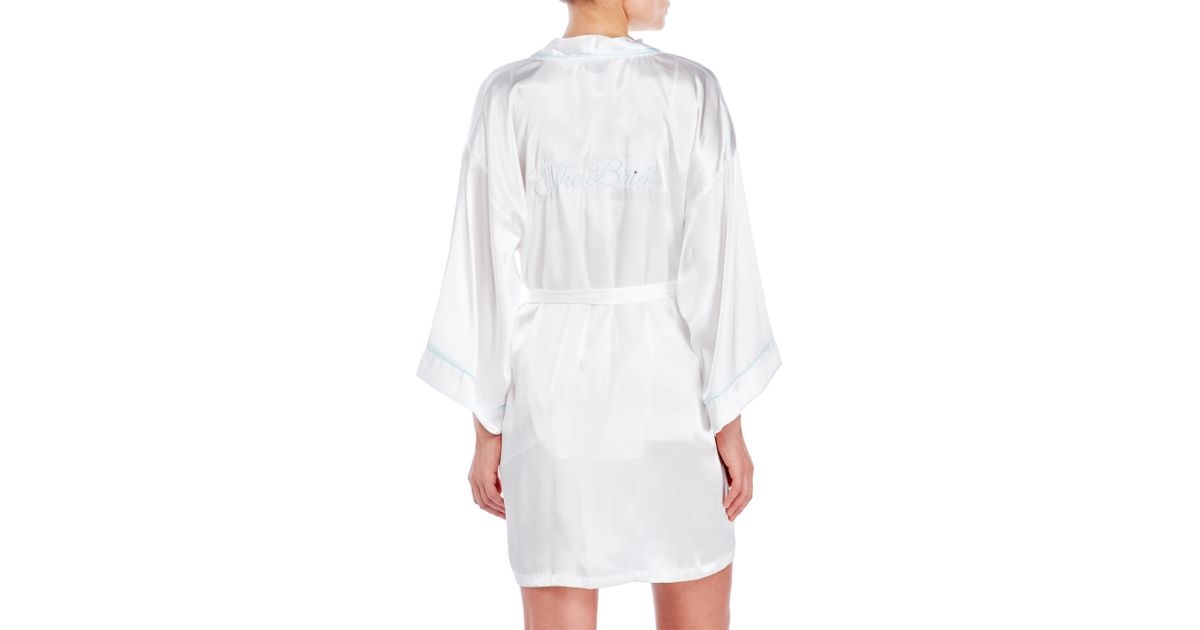 Lyst - In Bloom By Jonquil The Bride Satin Robe in White 045d4f59a