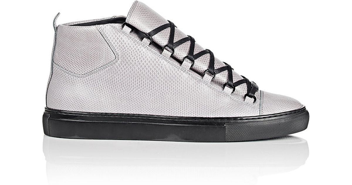 Lyst - Balenciaga Snakeskin Arena High-top Sneakers in Gray for Men 565667710104