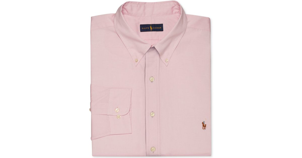 Polo ralph lauren men 39 s big and tall pink dress shirt in for Mens big and tall burberry shirts