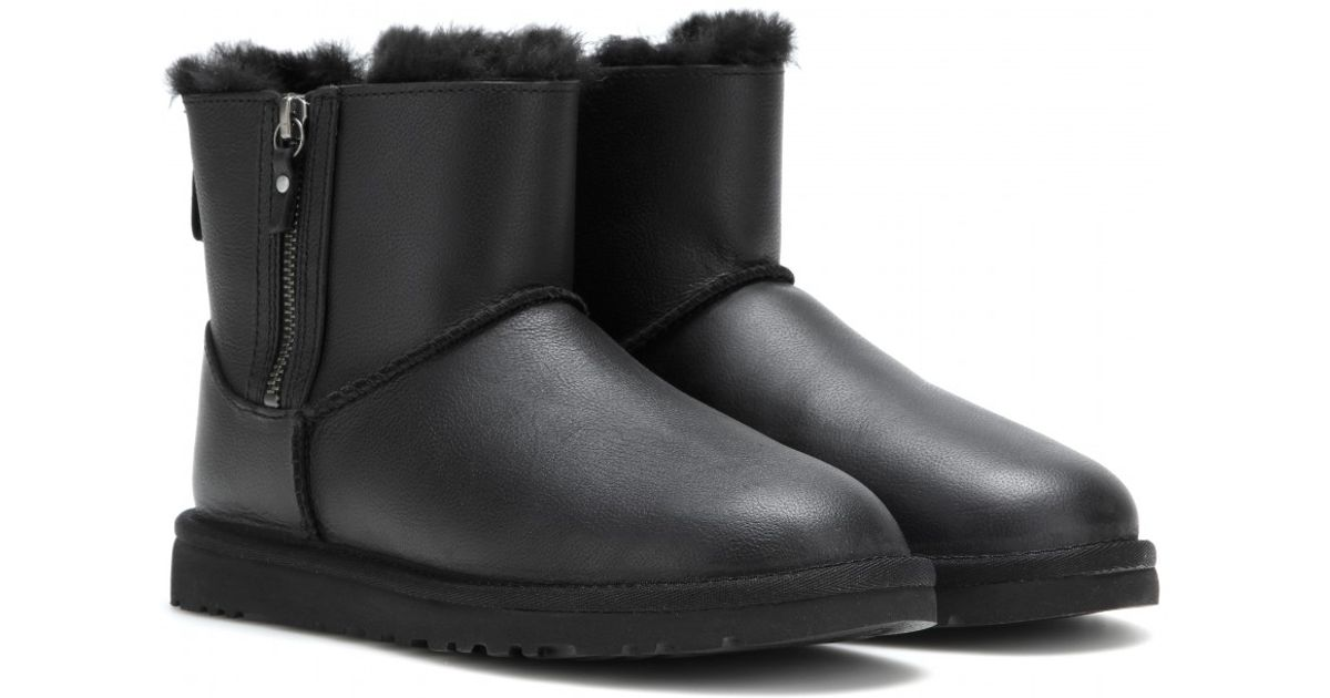 black zip up ugg boots