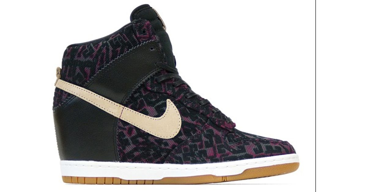 finest selection dd845 eada8 ... grey online  nike dunk sky hi premium black linen in blue lyst