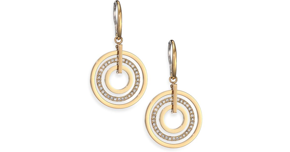 aa2efdbfb Michael Kors Brilliance Statement Pavé Nested Circle Drop Earrings in  Metallic - Lyst