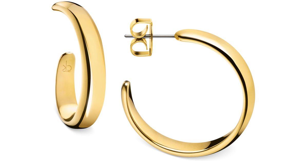1a3fbc2ae Calvin Klein Embrace Hoop Earrings in Metallic - Lyst