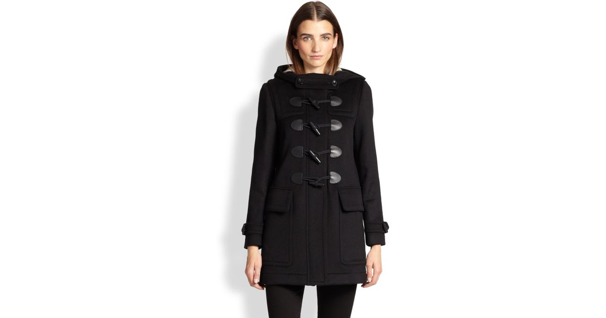 Burberry Finsdale Wool Toggle Coat in Black | Lyst