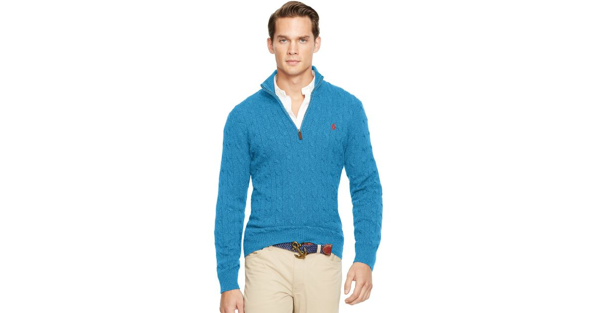 Lyst Polo Ralph Lauren Cabled Tussah Silk Sweater In Blue For Men
