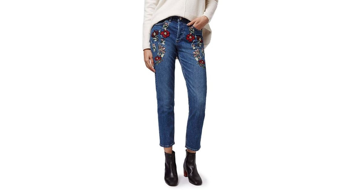 Topshop moto embroidered crop jeans in blue lyst