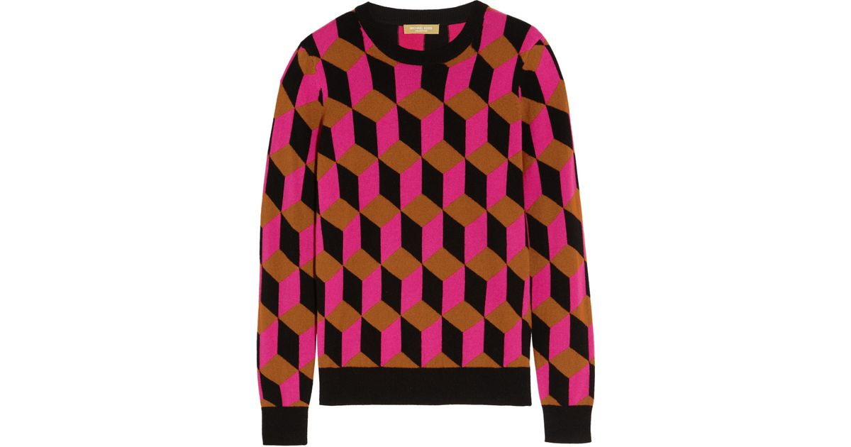 Michael kors - Hexagon-intarsia Cashmere Sweater - Fuchsia in Blue ...