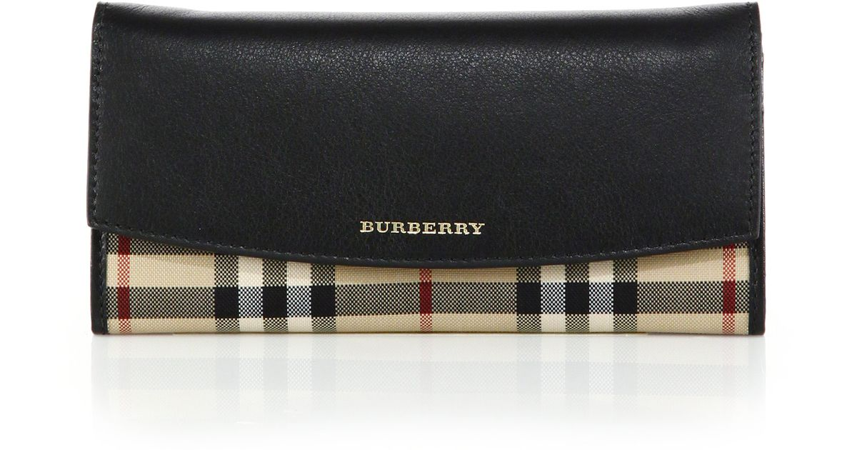 House Check And Leather Continental Wallet - Black Burberry WHKPYs0
