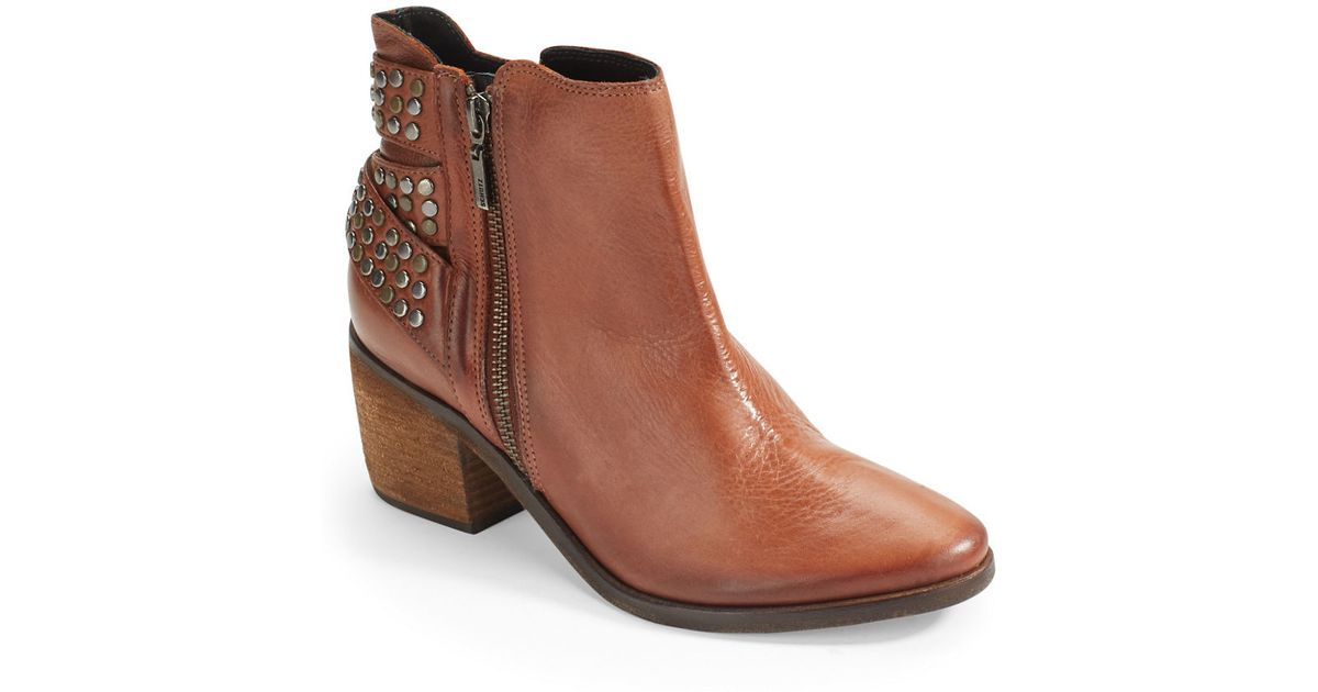 schutz caitlin studded ankle boots in brown lyst