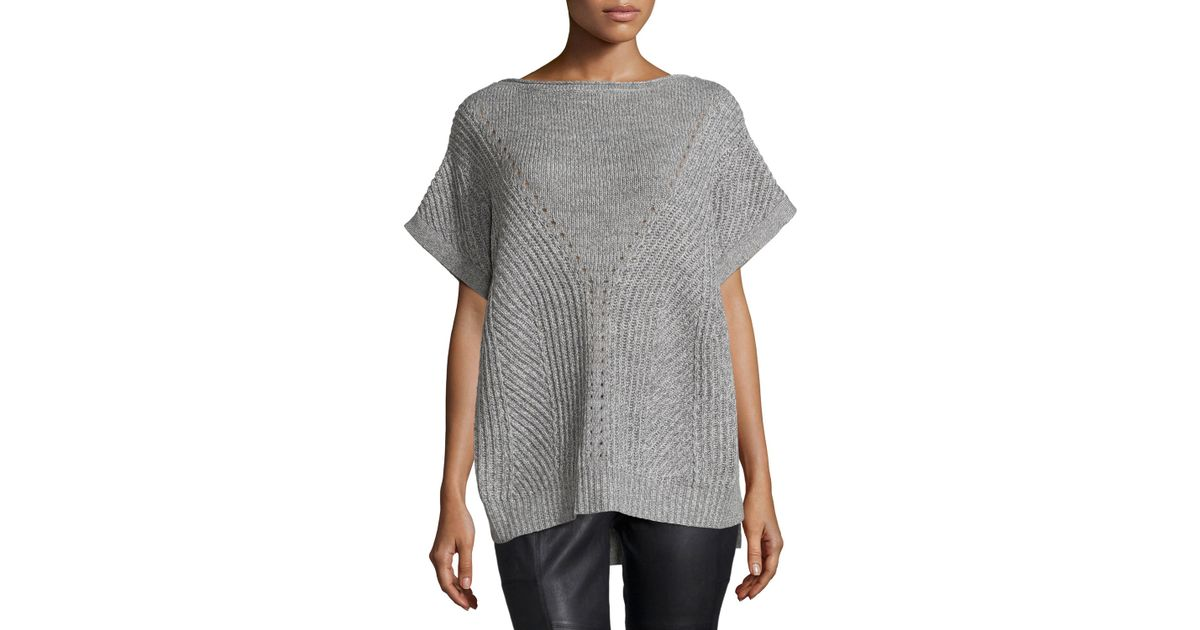 Halston Short-sleeve Knit Poncho Sweater in Gray Lyst