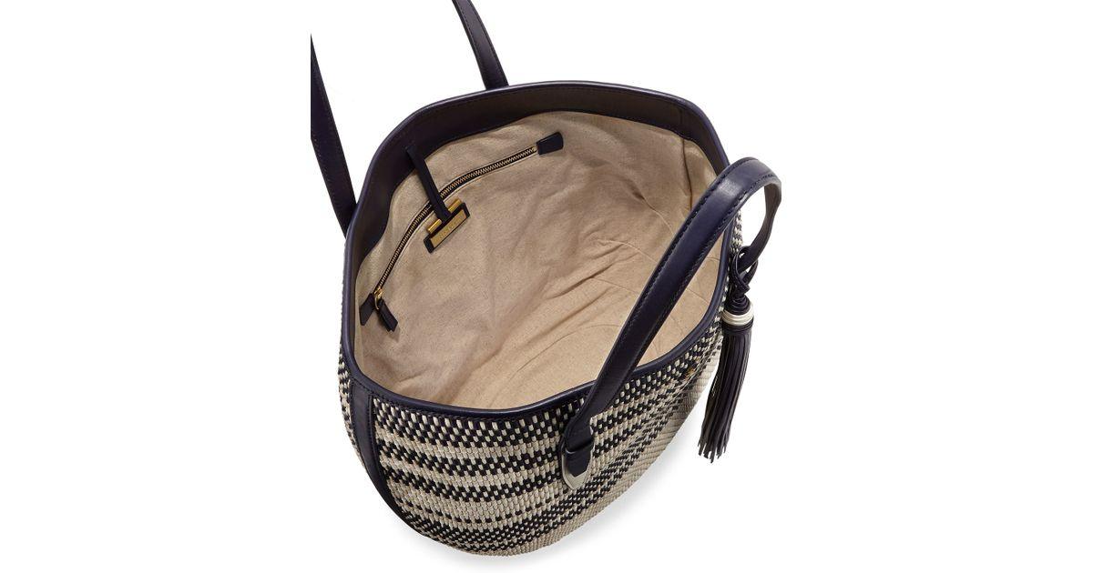 cf4ec73d787 Lyst - Tory Burch Woven Vachetta Leather Tote Bag in Blue