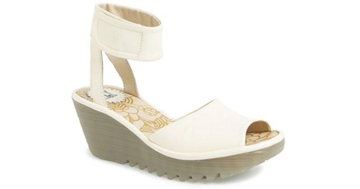 772e1153d69fe Lyst - Fly London 'yula' Wedge Sandal in White