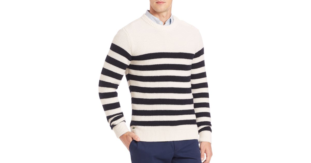 e7cf7e5034 Lacoste Fancy Rib Striped Sweater in Purple for Men - Lyst