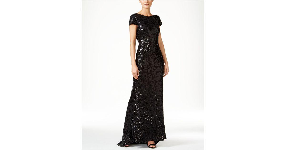 c947ba6f725b Calvin Klein Sequined Cap-sleeve Gown in Black - Lyst