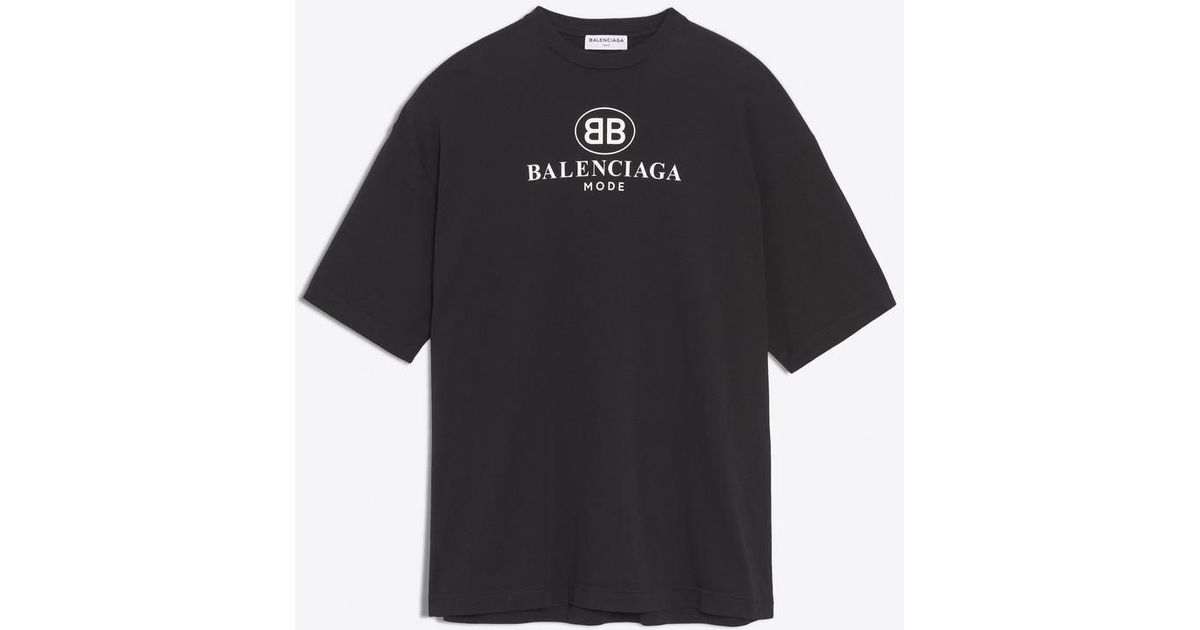 830cda08 Balenciaga Bb Mode Semi Fitted T-shirt in Black - Lyst