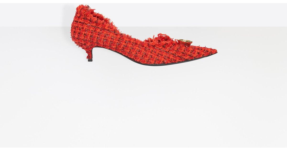 9c39568892b Balenciaga Knife Pumps Tweed in Red - Lyst