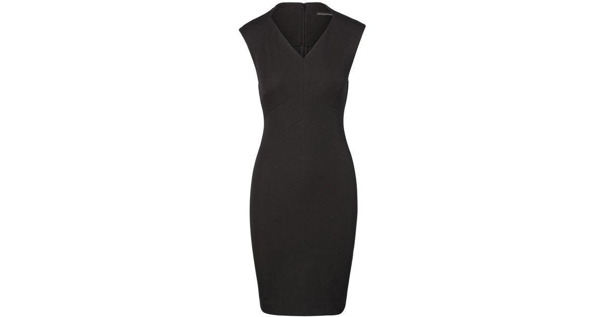 92b4393a Lyst - Banana Republic Petite Bi-stretch V-neck Sheath Dress in Black