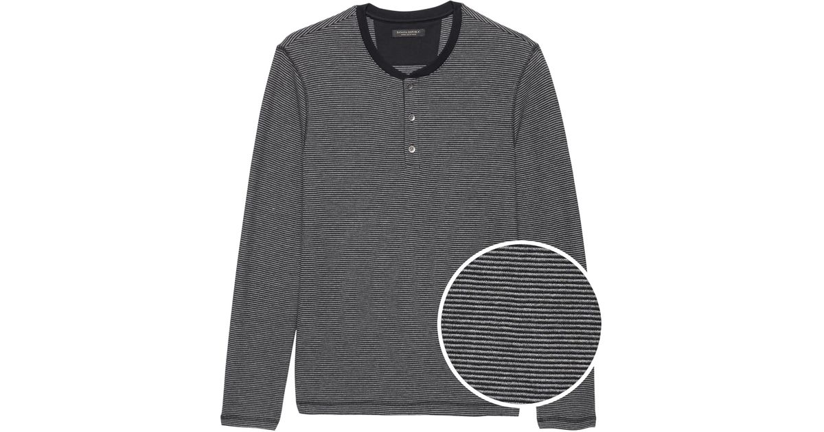 15daa92f Lyst - Banana Republic Waffle-knit Henley Thermal T-shirt in Gray for Men