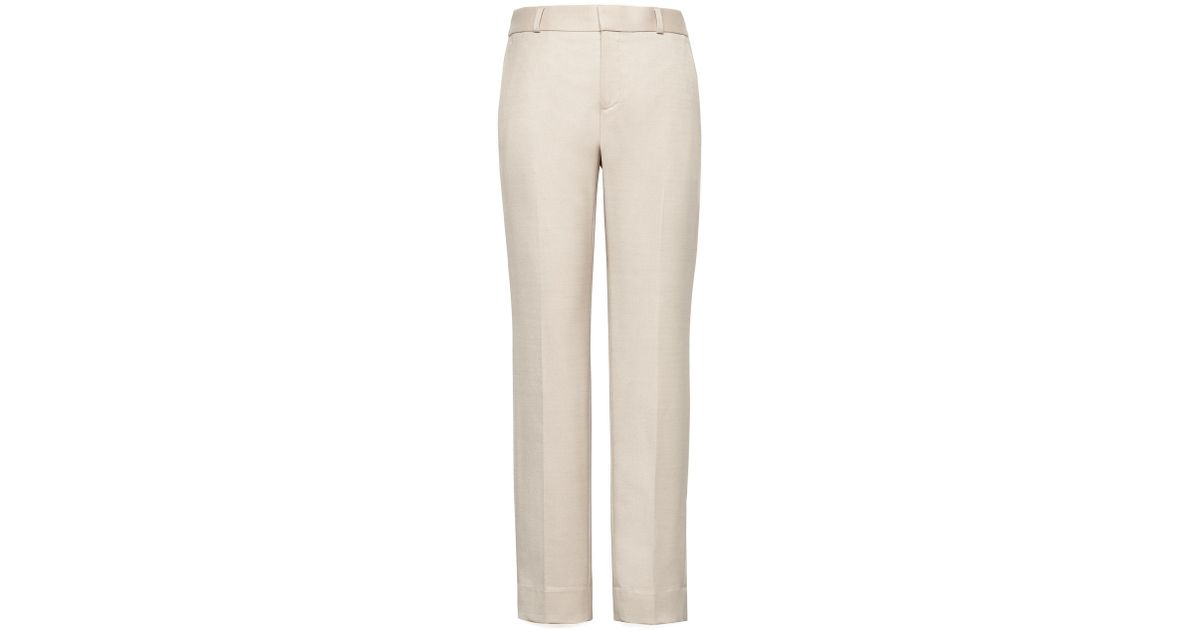 792bbc5db222e Lyst - Banana Republic Petite Avery Straight-fit Wool-blend Ankle Pant in  Natural