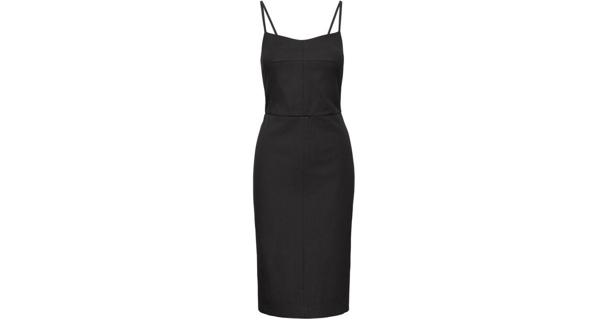 10c818ef Banana Republic Petite Strappy Bi-stretch Sheath Dress in Black - Lyst
