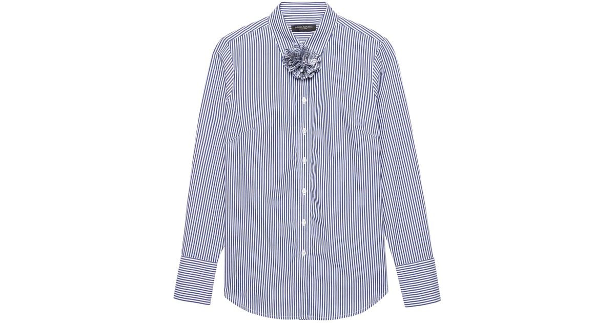 7453748b729b0 Lyst - Banana Republic Petite Riley Tailored-fit Stripe Shirt With  Removable Flower in Blue for Men