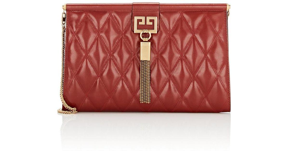 Lyst - Givenchy Gem Medium Leather Shoulder Bag in Red 5d16f0aee6