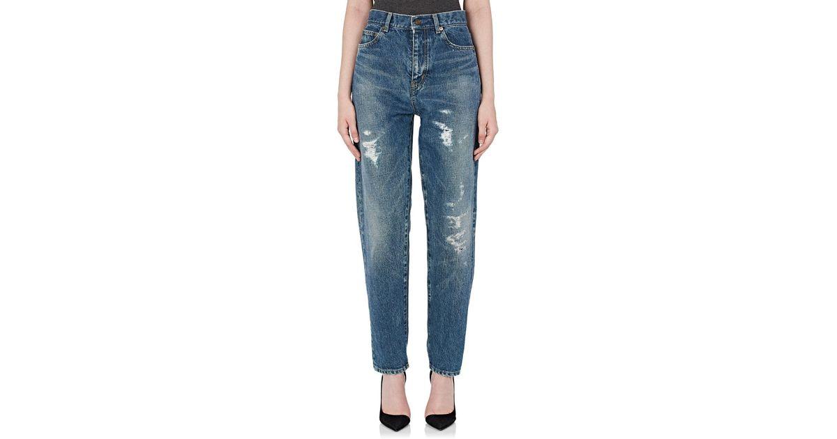 da98a044fe4 Lyst - Saint Laurent Destroyed Boyfriend Jeans in Blue