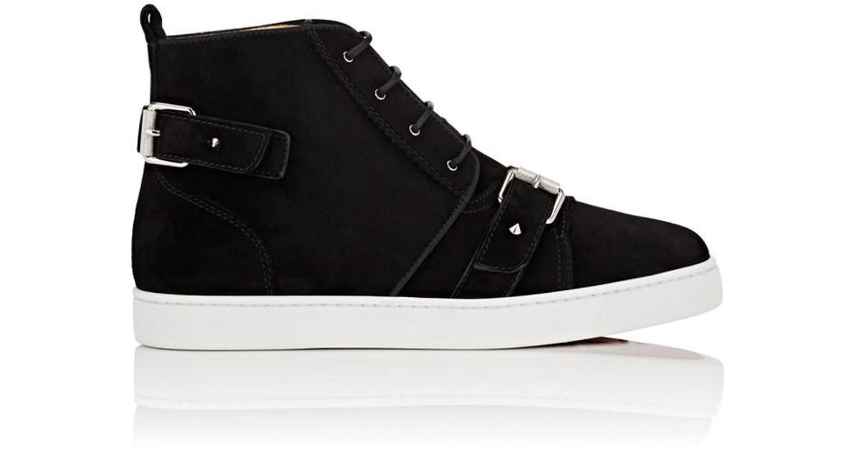 101bbd93a7e Christian Louboutin Nono Strap Suede Sneakers in Black for Men - Lyst