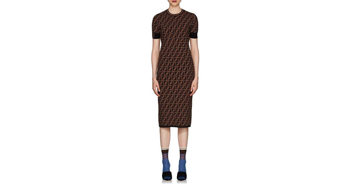 1413c69db504 Fendi Logo Knit Body-con Midi-dress in Brown - Save 5% - Lyst
