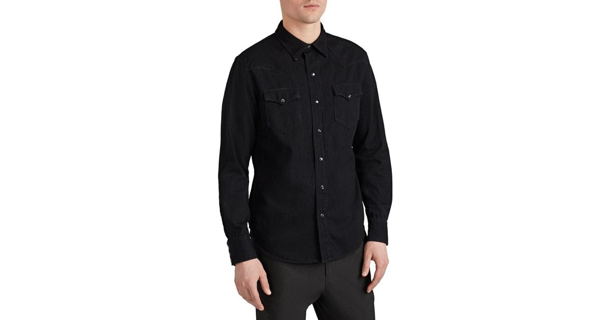 e0600dff Ralph Lauren Purple Label Washed Denim Western Shirt in Black for Men - Lyst
