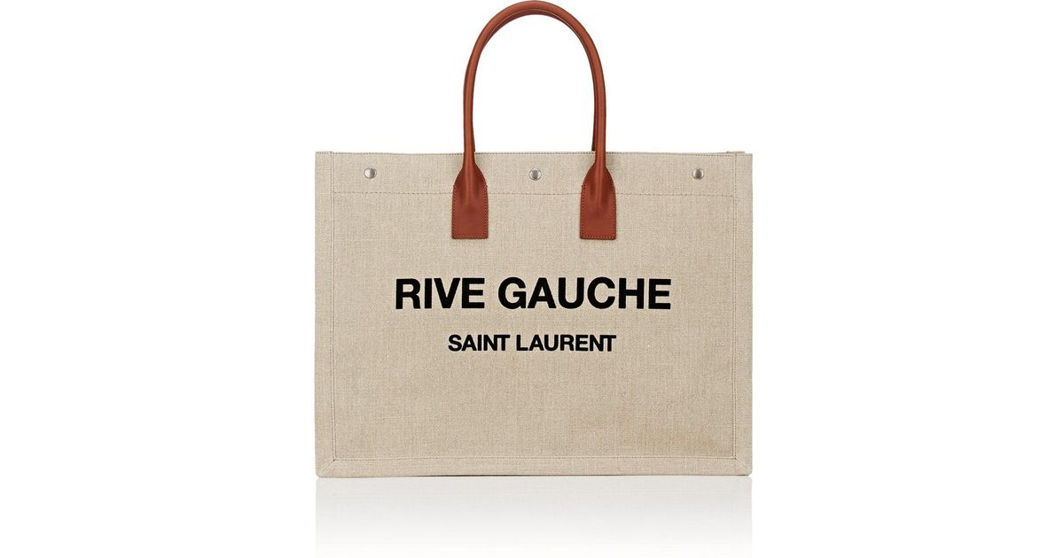 669e937190 Lyst - Saint Laurent Rive Gauche Large Canvas Tote Bag in Brown