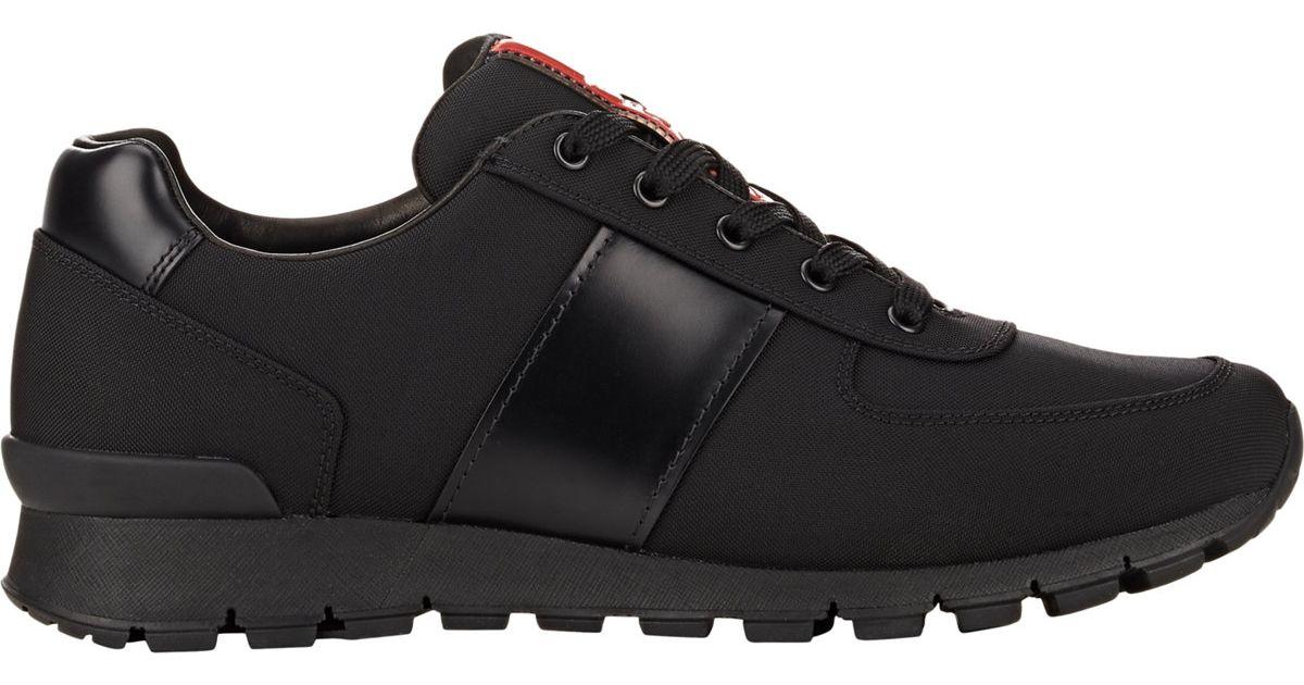 Prada Nylon & Spazzolato Trainers in Black for Men