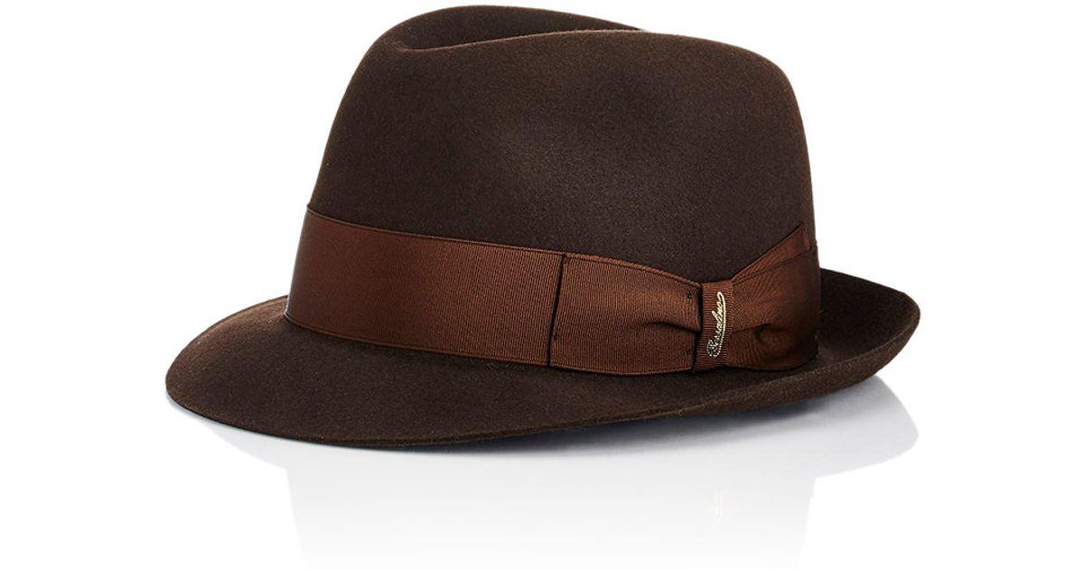 Borsalino Tasso Short Brim Hat In Brown For Men Lyst
