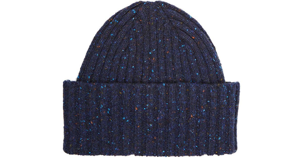 2d2183b3d0c Lyst - Drake s Donegal-effect Merino Wool Cap in Blue for Men