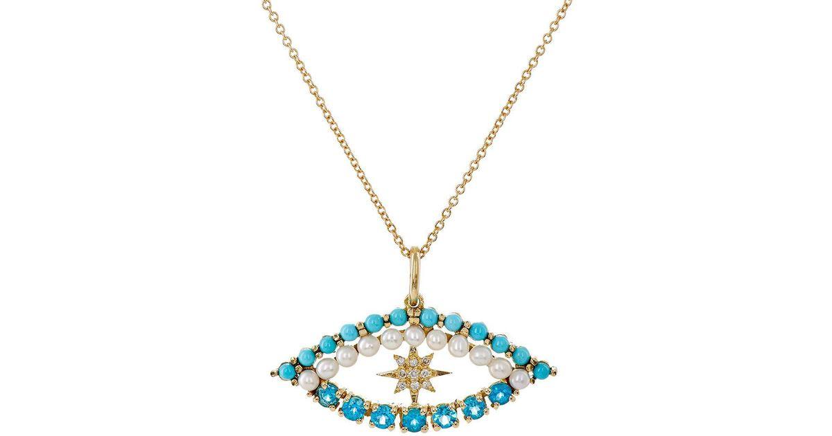 Ileana Makri Womens Shiny Star Eye Necklace 6Y8uohcM6