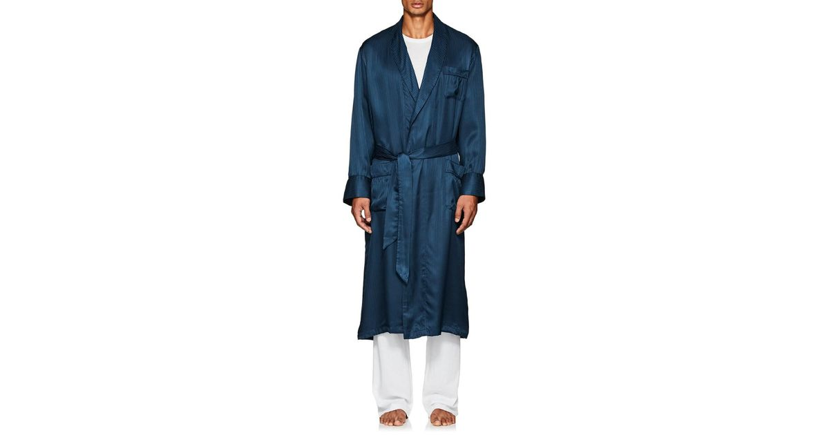Lyst - Derek Rose Woburn Striped Silk Satin Robe in Blue for Men 5cc843573