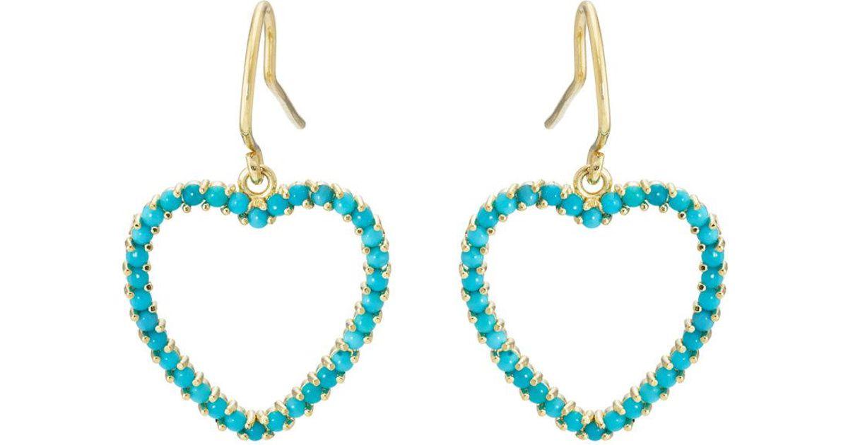 Jennifer Meyer Womens Turquoise Large Open Heart Drop Earrings R2mao6p4i
