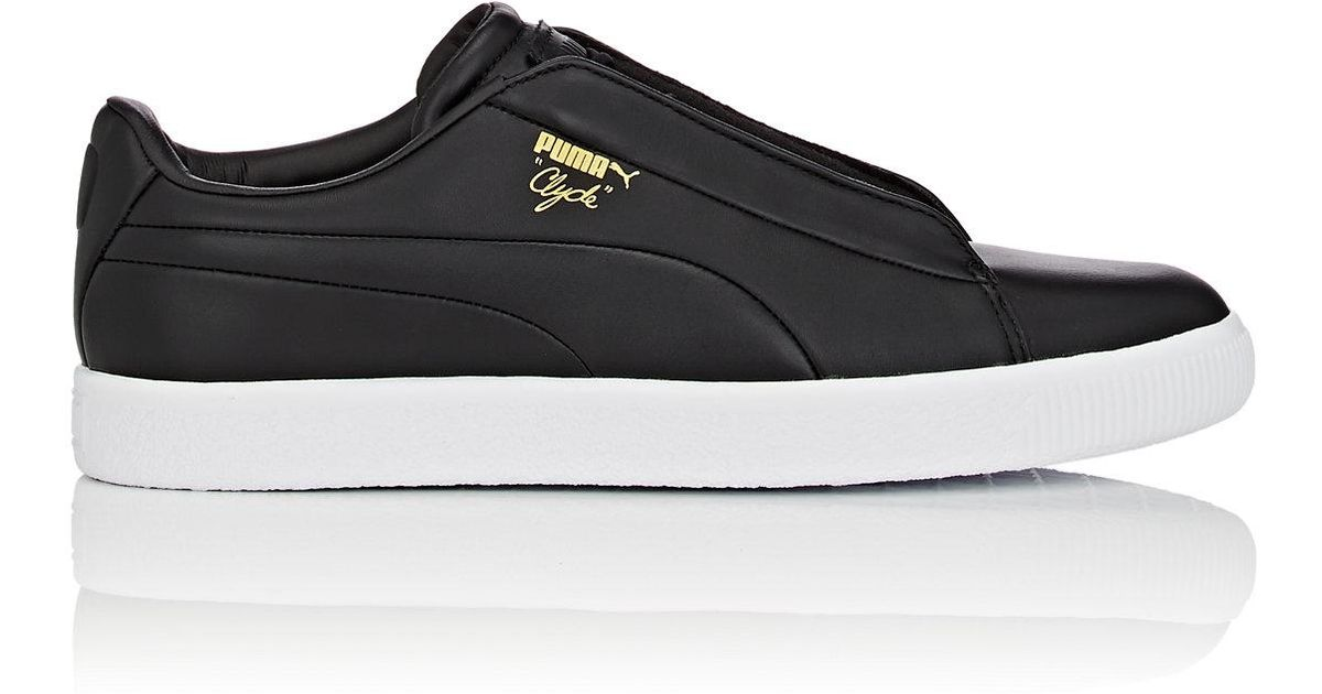 Lyst - PUMA Clyde Fashion Leather Sneakers in Black for Men 8383e3d88