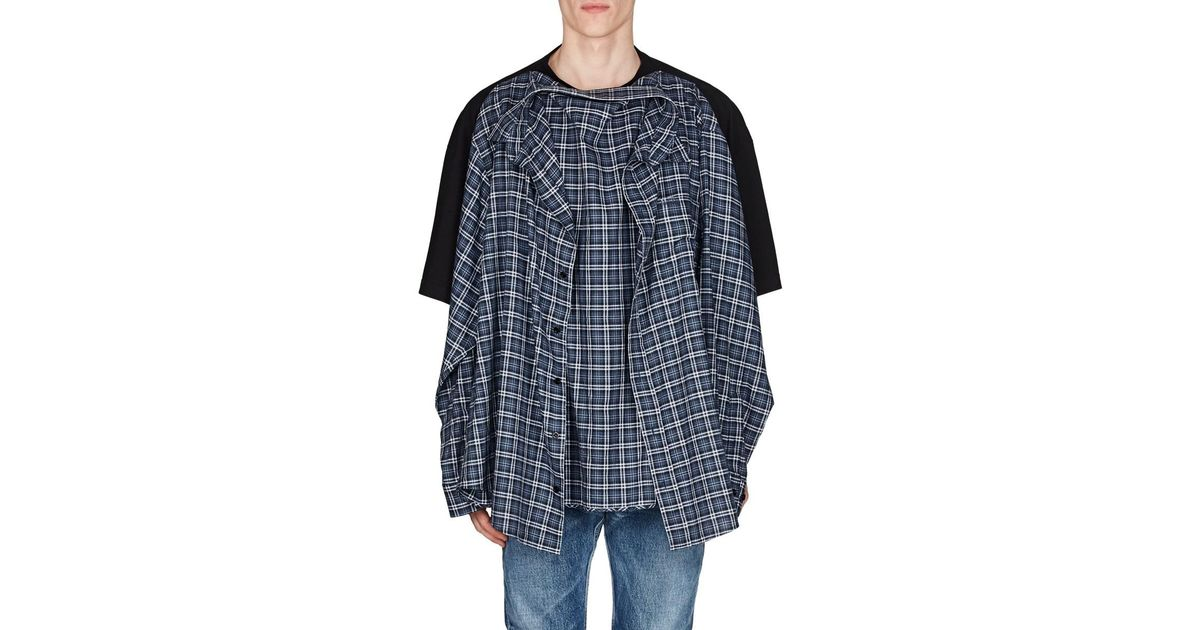 857d8d6c499f Lyst - Balenciaga Cotton Oversized Combo T-shirt in Blue for Men