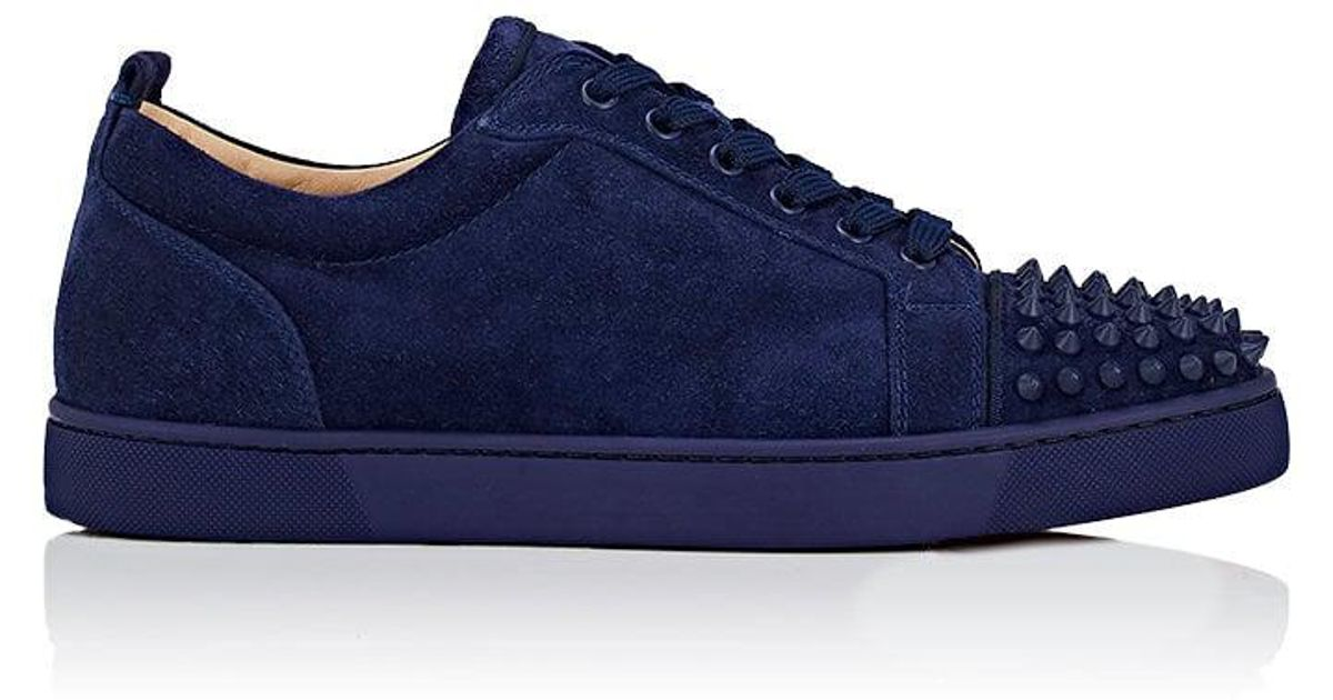 Lyst - Christian Louboutin Louis Junior Spikes Flat Suede Sneakers in Blue  for Men