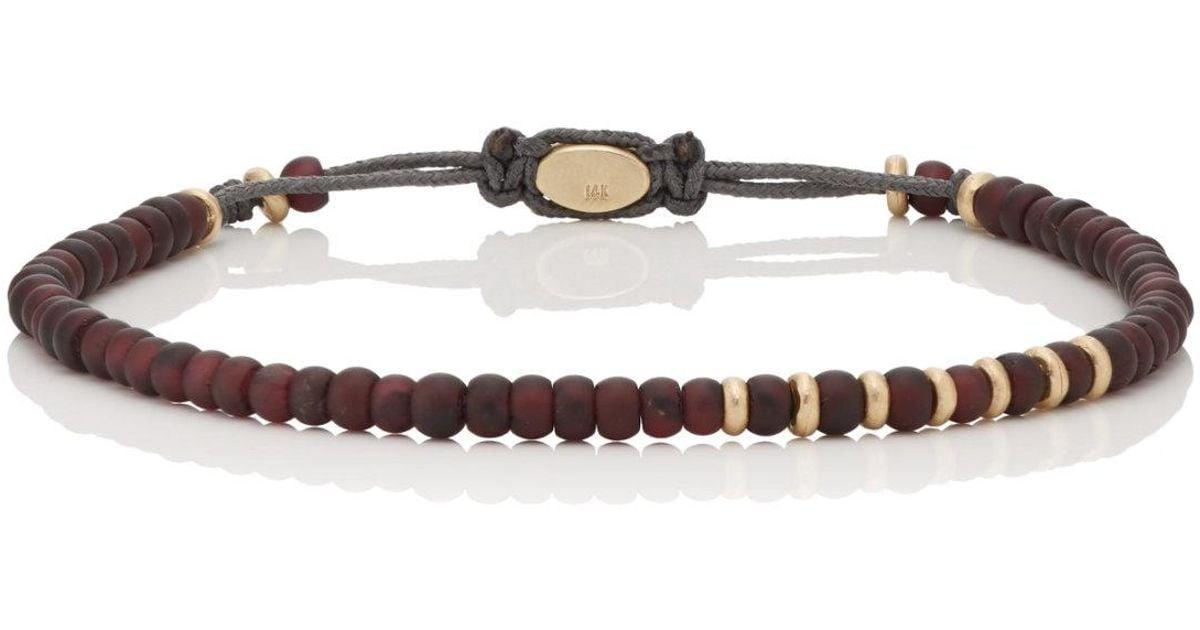 M. Cohen Mens Garnet & Yellow Gold Beaded Bracelet 9DHQ4tb